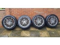 Set of four gunmetal alloy wheels VW Touareg +4 winter tyres 275/45/R20 + 4 summer tyres 275/45/R20