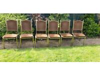 Set of 6 gold studded chairs