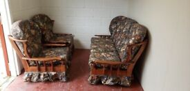 3 piece wooden frame sofa suite (delivered free)