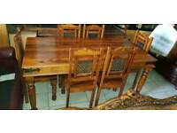 Lovely brown solid wood dining table and chairs, Excellent condition
