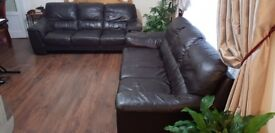 2x 3 Seater Brown Leather Sofa for sale