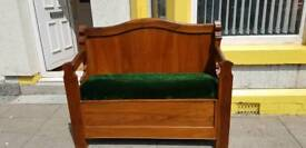 Vintage high back solid wood church pew