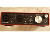 Focusrite scarlett 2i2 2nd gen audio interface (17 month warranty)
