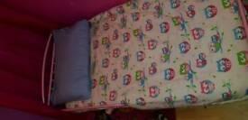 Metal pink toddler.bed and mattress