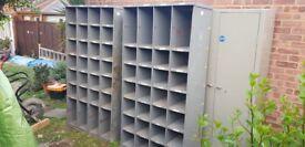 2x Vintage Industrial Metal Pigeon Hole Cabinets / Racks