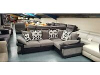 3 SEATER PILLOWBACK CORNER SOFA IN GREY/ BLACK COMBINATION