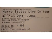 1 x Harry Styles seated ticket, Birmingham, Sat 7th April, close to stage
