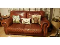 Antique real leather sofa couch