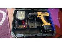 drill driver dewalt 12v with charger, case and spare battery