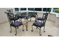 Conservatory table, side table and 6 chairs