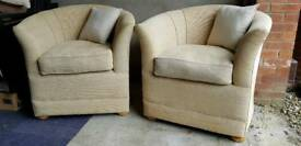 2 Tub Chairs and assorted cushions