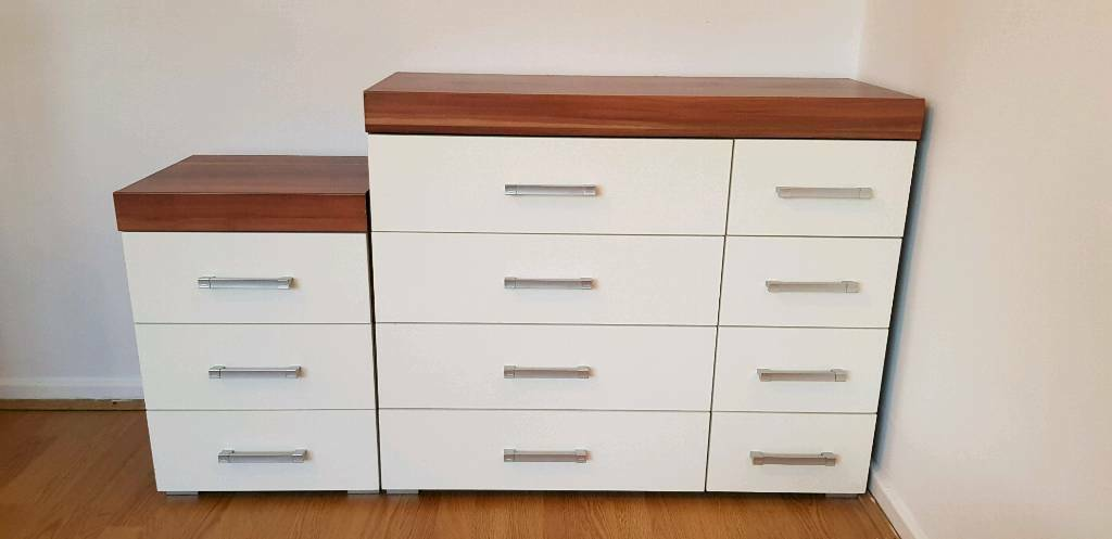 White Gloss Walnut Top Chest Of
