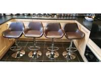 x4 faux Brown breakfast bar stools