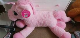 Giant unicorn teddy bear