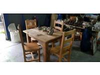 Shabby Chic Hand Made Solid oak Table and 4 Chairs