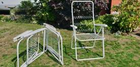 3 White Metal Sprung Folding Garden Deckchairs for Sale