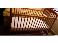 John Lewis wooden cot bed and Mattress