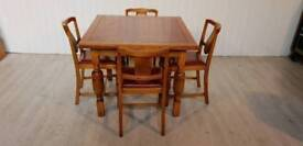 Vintage Oak Extendable Dining Table and 4 Chairs