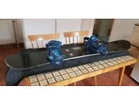 Burton snowboard, bindings and bag.