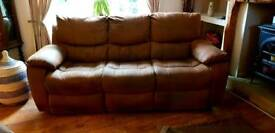 Suede Leather 3 Seater Sofa & Rocking Chair