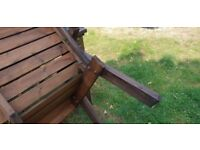 Chunky 4 x Seat Wooden Garden table with 2 x Chairs and 1 x two seater bench.