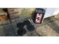 Dumbells set:York 20kg cast iron set plus 4 x5kg weights extra