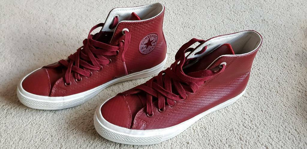 d9bed1711f5046 Mens Converse Chuck Taylor All Star II leather ox blood red colour size 8.5  lunarlon