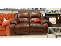 BROWN Leather Reclining sofa - Two Seater
