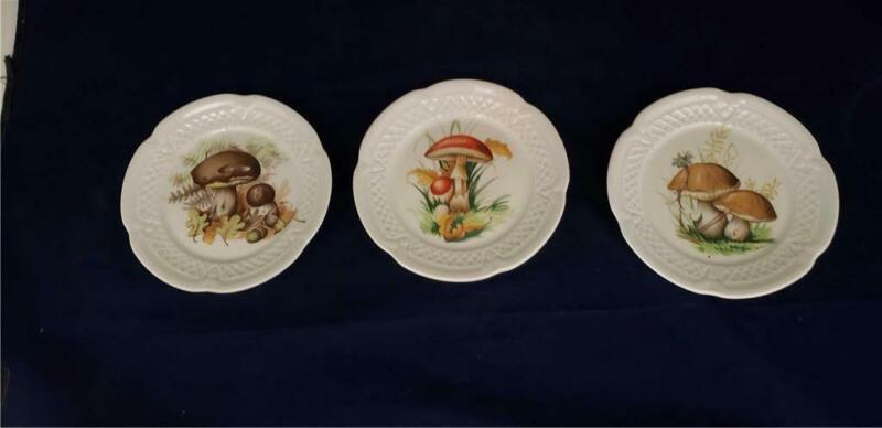 """Louis Lourioux MUSHROOM Set of 3 Canape Appetizer Plates, 5 5/8"""" Deshoulieres"""