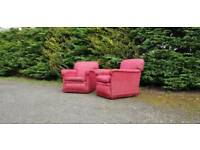2 vintage red fabric lazy boy club lounge. VGC.