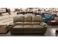 Ex-display Sofology Akira grey leather electric recliner 3 seater sofa