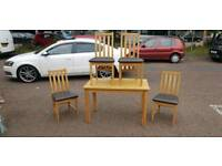 Table and chairs solid oak wood