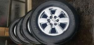 GM SIERRA  2014 CHROME CLAD 18 INCH WHEELS WITH MICHELIN 285 / 65 / 18  ALL SEASON TIRES .