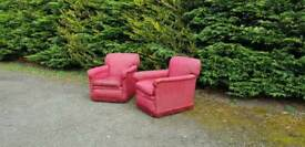 2 Vintage Arm Chairs Club Lounge Pub Cafe Deco