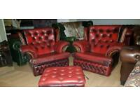 Beautiful ox blood red lather Chesterfield high bage armchair with large footstool storage,