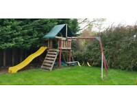 Playhouse, treehouse, tree house, swing set, slide, climbing frame