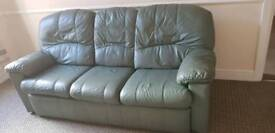 Green Leather Sofa and Chair