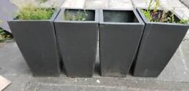 Set of 4 large grey planters