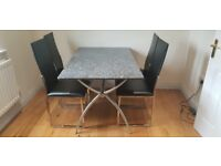 Granite dining table and 4 chairs