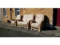 Quality Cane Conservatory Furniture 3 piece suite Deco Sunburst Design