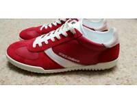 DOLCE AND GABBANA RED SUEDE AND LEATHER SNEAKERS SIZE 43 ( SIZE 9 UK)