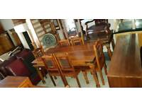 Lovely brown solid wood dining table& 6 chairs with machine mirror,Excellent condition