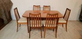 G Plan Mid Century Teak Extendable Dining Table and Six Chairs