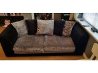 3 seater and 2 seater crushed velvet sofas