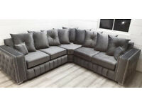 Brand New Lyla Corner and 3 - 2 Seat Sofas in Dark Grey Soft Fabric and Deep Side Paddings