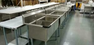 Commercial Sink, Prep Table, Stainless Steel Table, Faucets, deli case, best deals!