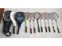 Collection of 12 vintage Tennis Racquets and Badminton Racquets in good condition, as pictured