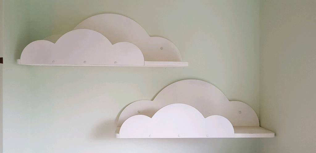 2x Cloud Shaped Floating Shelves For Nursery