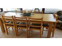 8 seater oak table and chairs
