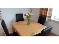 Morris furniture dining room table and chairs with matching sideboard